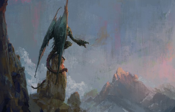 Picture the sky, rocks, dragon, wings, fantasy, art, mouth, art