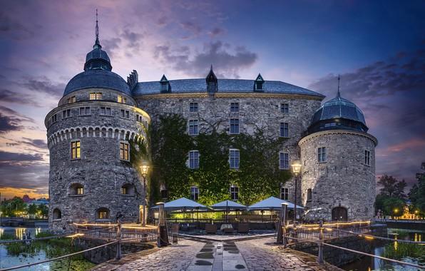 Picture the sky, pond, castle, the evening, lights, Sweden, Sweden, Örebro castle