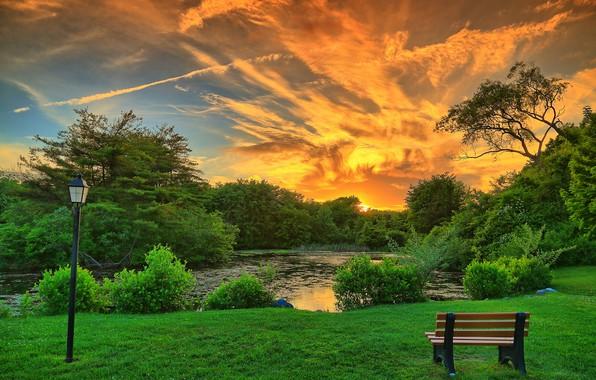 Picture clouds, trees, landscape, sunset, bench, pond, Park, lantern, beautiful sky