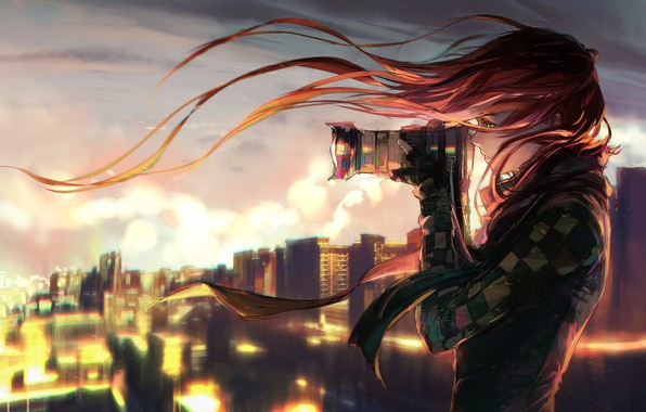 Picture girl, the city, the evening, the camera, yuumei