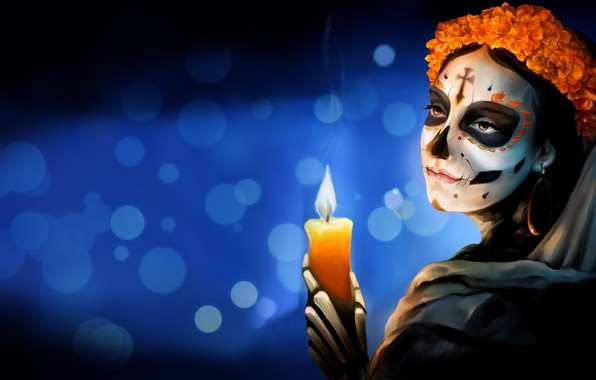 Picture Flowers, Girl, Style, Background, Calavera, Mexico, Candle, Day of the Dead, Day of the Dead, ...