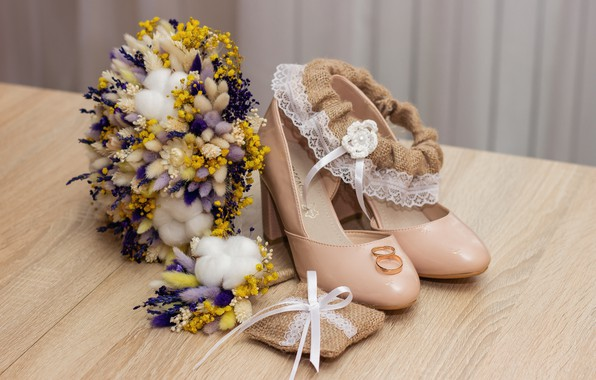 Picture bouquet, ring, shoes, wedding, garter