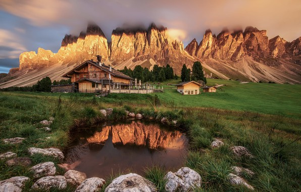 Picture grass, clouds, trees, landscape, sunset, mountains, nature, stones, home, Italy, pond, meadows, The Dolomites