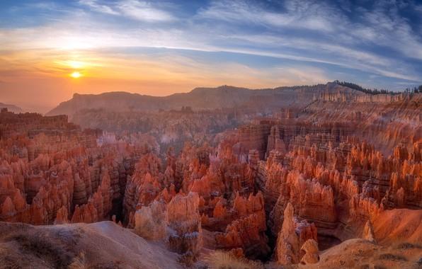 Picture desert, panorama, Utah, Fog, Bryce Canyon, Misty Canyon