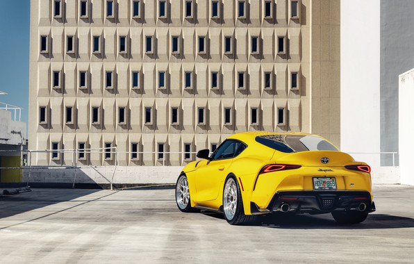 Picture yellow, sports car, rear view, Toyota Supra, 2020 Toyota GR Above