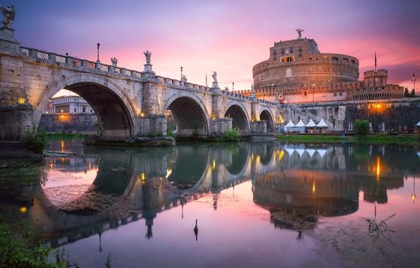 Picture sunset, bridge, structure