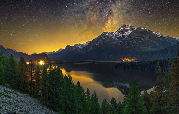 Picture forest, the sky, stars, snow, mountains, night, lights, lake, reflection, shore, the slopes, tops, view, …