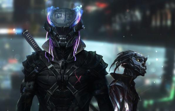 Picture Future, Robot, Costume, Helmet, Fantasy, Art, Art, Fiction, Future, Cyborg, Cyber, Cyberpunk, by Mustafa Lamrani, …