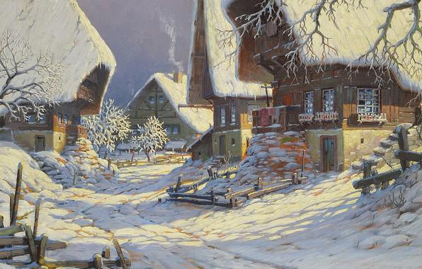 Picture German painter, German painter, oil on canvas, Carl Hauptmann, Karl Hauptmann, Todtnau - Snowy Black …