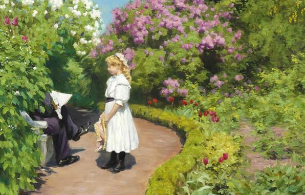Picture Danish painter, 1910, Danish realist painter, Hans Andersen Brendekilde, Hans Andersen Brendekilde, Girl with straw …