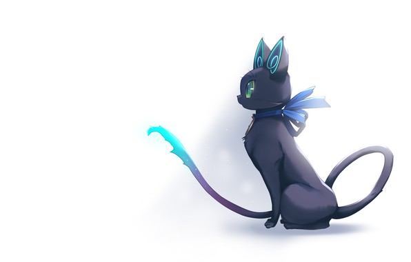 Picture cat, cat, white background, games, anime, Deep One