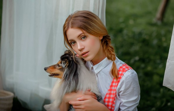 Picture look, Girl, dog, beautiful, Ksenia Kokoreva, Nastassja Parshina, Yuriy Zaharov