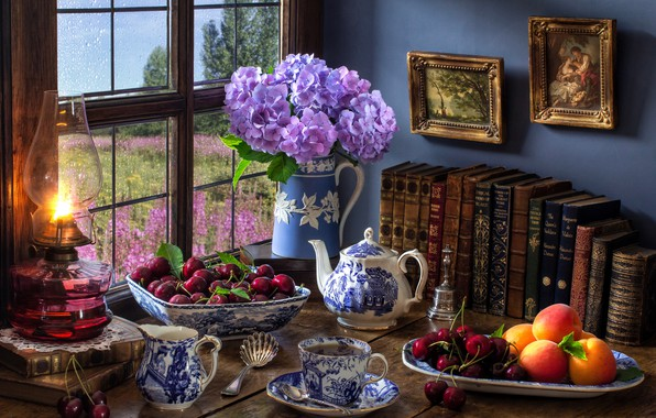 Picture flowers, style, berries, tea, books, lamp, kettle, window, mug, pictures, peaches, cherry, hydrangea