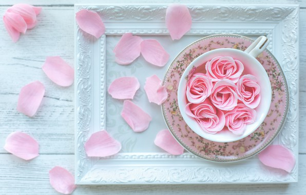 Picture rose, frame, petals