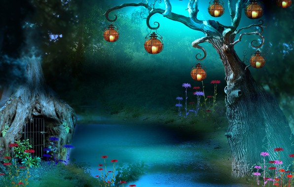Picture grass, flowers, night, tree, grille, grass, river, the magical world, lanterns, river, grid, night, flowers, …