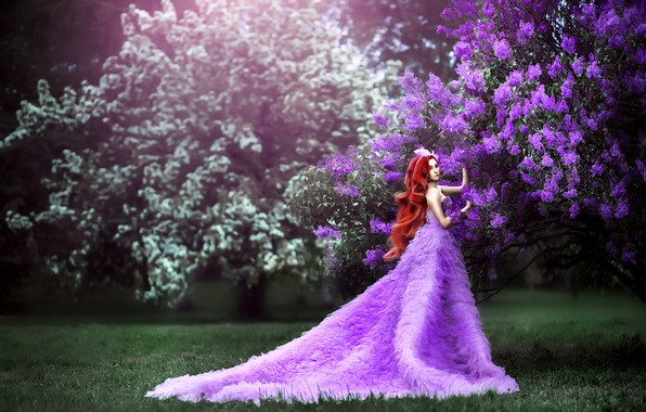 Picture grass, girl, flowers, branches, pose, lawn, glade, spring, garden, dress, fantasy, photographer, red, walk, Princess, …