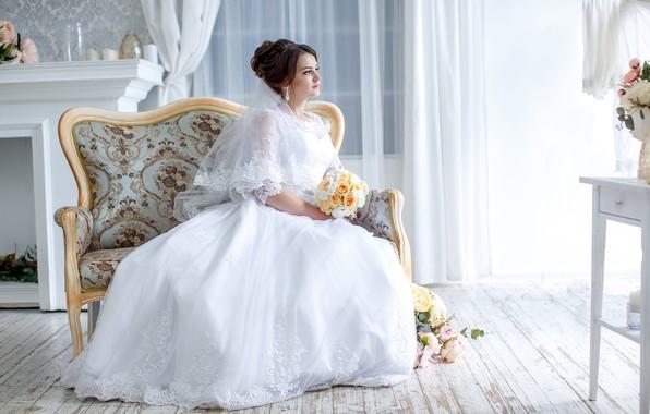 Picture bouquet, dress, the bride, wedding