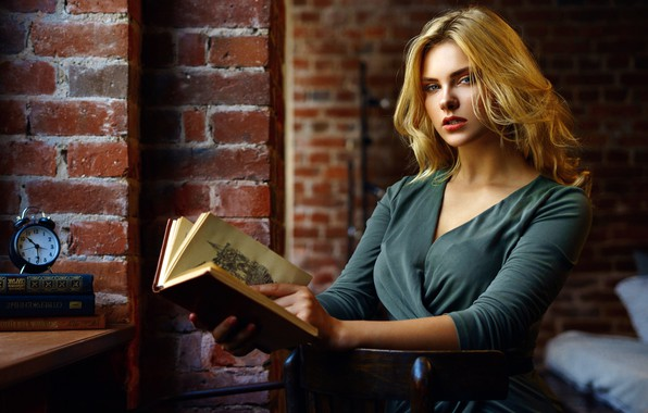 Picture look, pose, wall, model, watch, bed, portrait, brick, makeup, dress, alarm clock, hairstyle, blonde, book, …