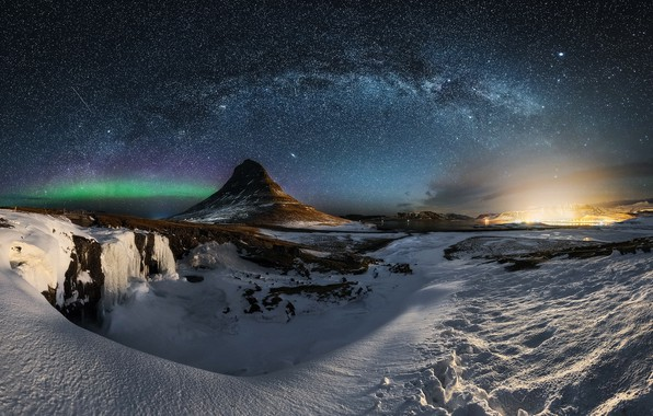 Picture the sky, stars, night, mountain, the milky way, Iceland