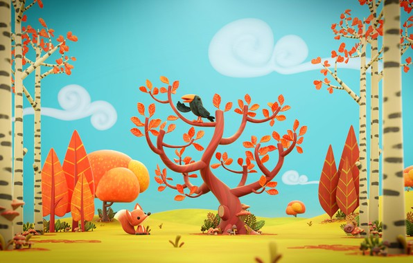 Picture autumn, art, Fox, children's, Autumn leaves, children's. forest, Olivier PAUTOT