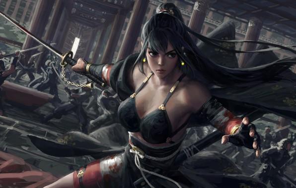 Picture girl, sword, fantasy, weapon, war, ponytail, katana, fight, battle, samurai, artist, digital art, artwork, concept …