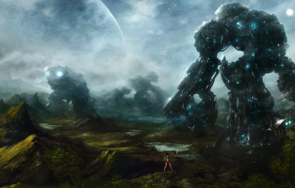 Picture fog, stones, meeting, planet, robots, dialogue, starlight, фантастичекий арт, fantastic world, девушка с совой, robot …