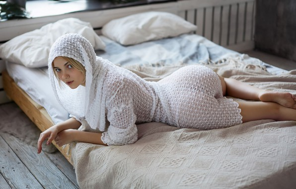 Picture look, girl, pose, bed, hood, bed, Dmitry Lobanov, Victoria Sokolova