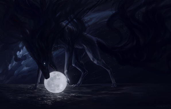 Picture the sky, water, clouds, night, animal, the moon, fantasy, art, mouth, moon