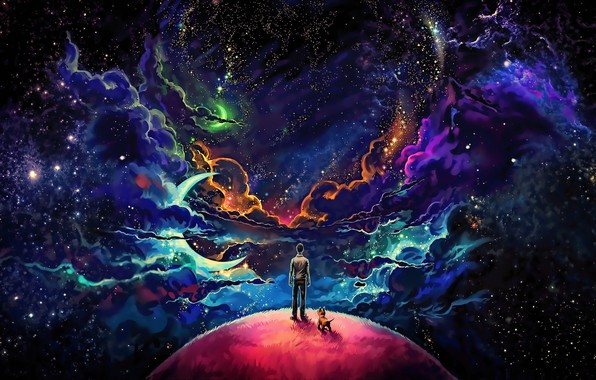 Picture space, nebula, planet, dog, guy