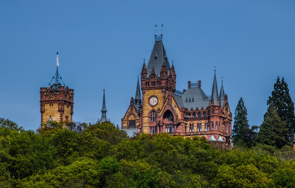 Picture trees, castle, Germany, Germany, North Rhine-Westphalia, North Rhine-Westphalia, The City Of Rivne, Dragon's Castle, Dragon …