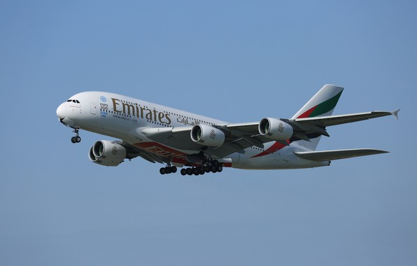 Picture the sky, flight, liner, Airbus, A380-861