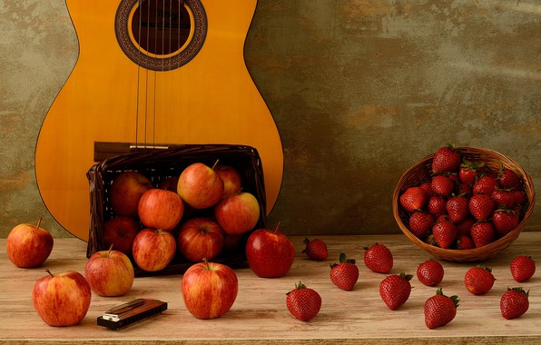 Picture table, wall, basket, apples, guitar, strawberry, berry, fruit, still life