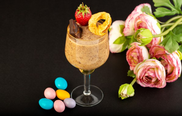 Picture flowers, glass, chocolate, strawberry, candy, dessert, pills, the dark background, Ranunculus