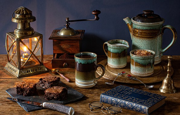 Picture style, coffee, glasses, pie, knife, mug, lantern, book, still life, coffee grinder, coffee pot, brownie