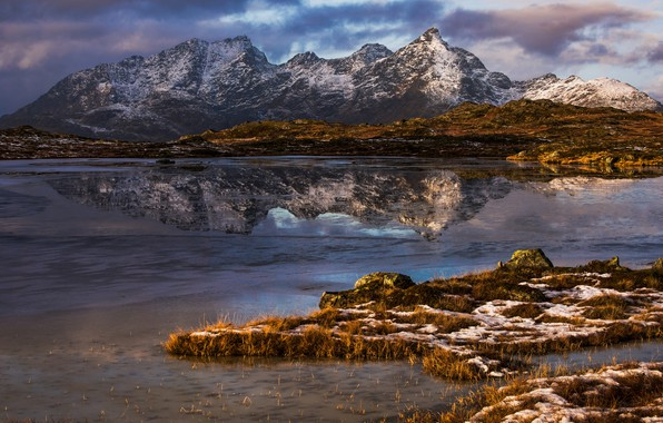 Picture photo, Nature, Reflection, Mountains, Norway, The Lofoten Islands, Justadtinden