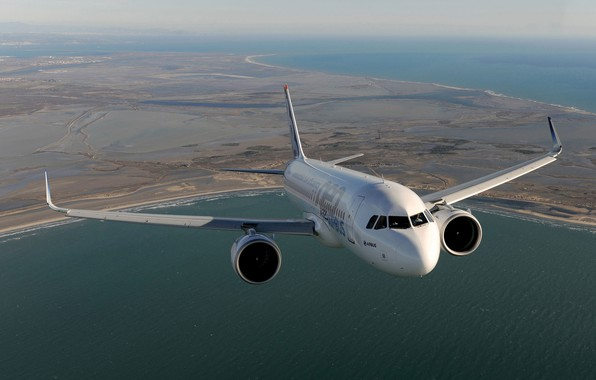 Picture Sea, Shore, Airbus, Airliner, Airbus A320, A320, Airbus A320neo