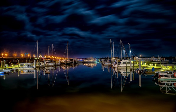 Picture the sky, water, clouds, night, bridge, lights, reflection, river, Marina, yachts, boats, lights, piers, mast