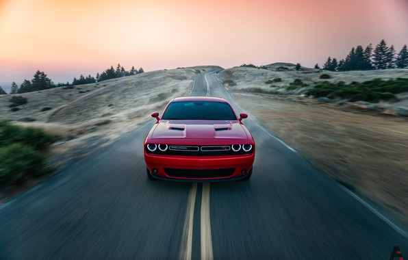 Picture Red, Auto, Road, Machine, Dodge, Challenger, Dodge Challenger, Concept Art, The front, Transport & Vehicles, …