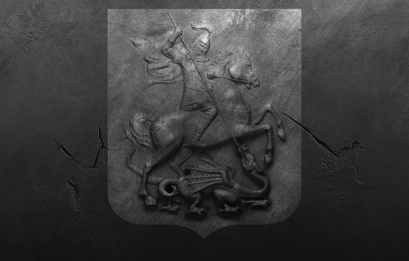 Picture cracked, wall, spot, scratches, coat of arms, roughness, St. George, the coat of arms of …