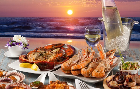Picture ice, sea, wine, seafood, mussels, lobster, lobster