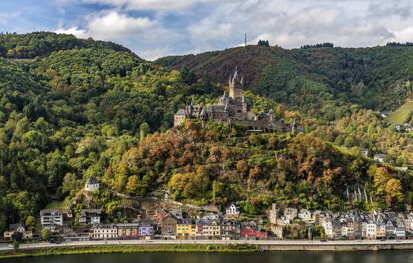 Picture castle, Germany, panorama, forest, Cochem