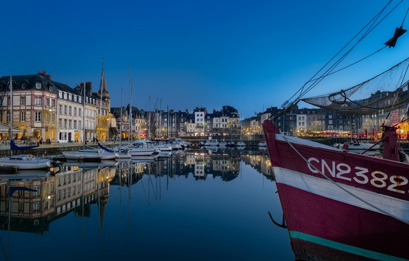 Picture France, Marina, boats, the evening, Honfleur
