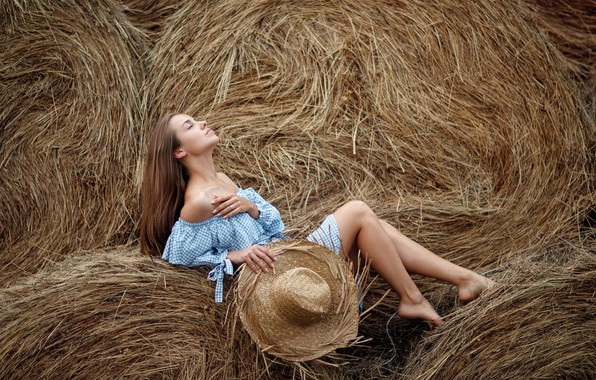 Picture summer, girl, pose, mood, hat, dress, hay, closed eyes, Sergey Sorokin