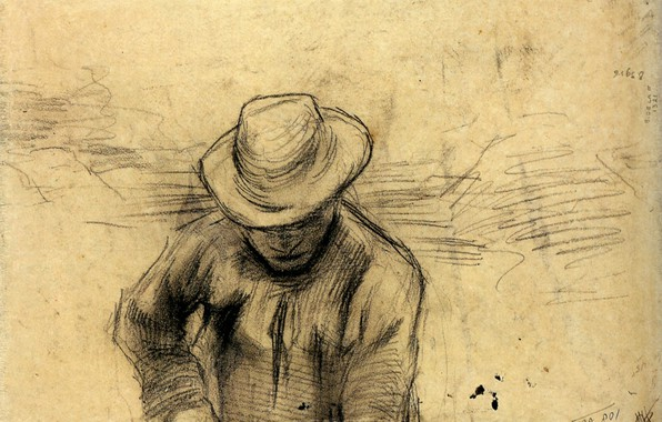 Picture hat, male, Vincent van Gogh, Peasant with a Fork
