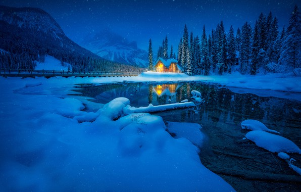 Picture winter, forest, snow, mountains, lake, reflection, Canada, house, Canada, British Columbia, British Columbia, Yoho National …