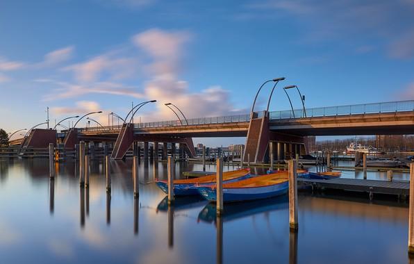 Picture bridge, river, boats, Netherlands, Holland, Haarlem, Schoterbrug