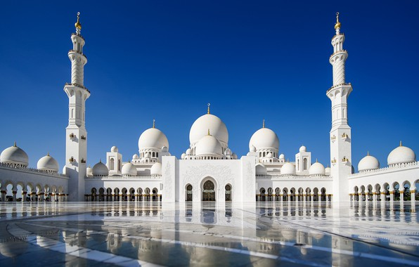 Picture the sky, reflection, mosque, Abu Dhabi, UAE, The Sheikh Zayed Grand mosque, Abu Dhabi, UAE, …