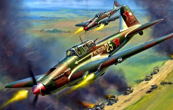 Picture USSR, Il-2, WWII, THE RED ARMY AIR FORCE, Il-2 Sturmovik, Concrete plane, Black Death