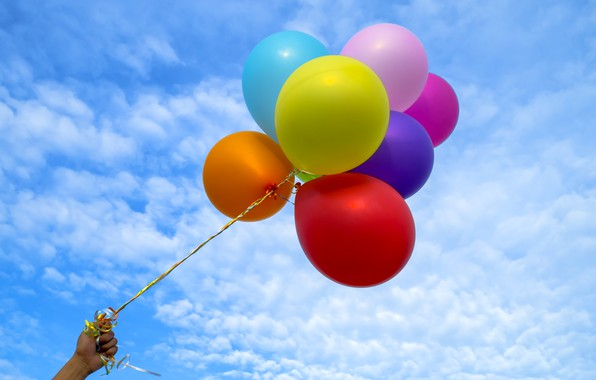 Picture summer, the sky, the sun, happiness, balloons, stay, colorful, summer, sunshine, happy, beach, vacation, balloon