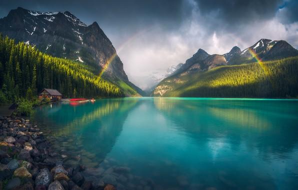 Picture mountains, lake, rainbow, rainbow, mountains, lake, Agile Friday